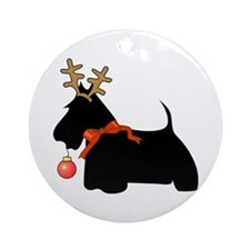 Scottie Dog Reindeer Ornament (Round)