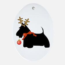 Scottie Dog Reindeer Oval Ornament