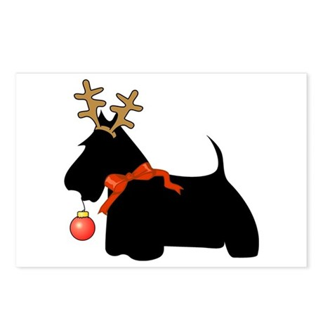 Scottie Dog Reindeer Postcards (Package of 8)