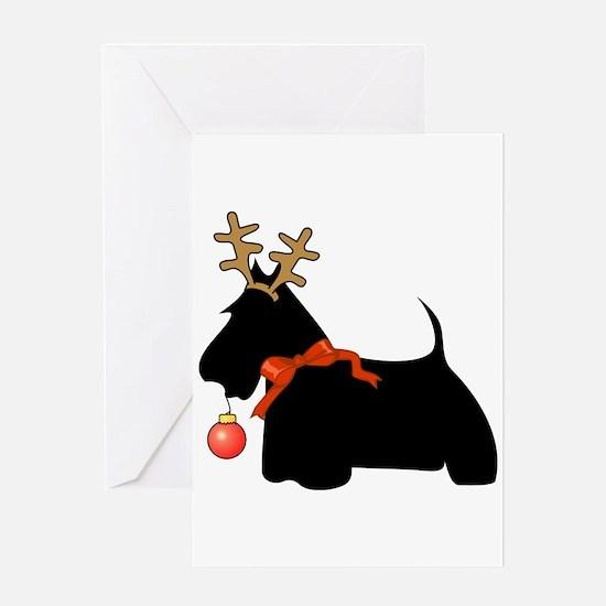 Scottie Dog Reindeer Greeting Card