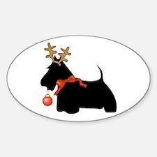 Scottie Dog Reindeer Oval Decal