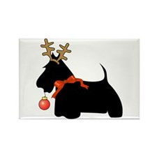 Scottie Dog Reindeer Rectangle Magnet