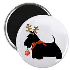 Scottie Dog Reindeer Magnet