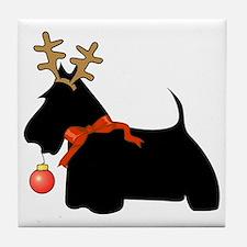 Scottie Dog Reindeer Tile Coaster