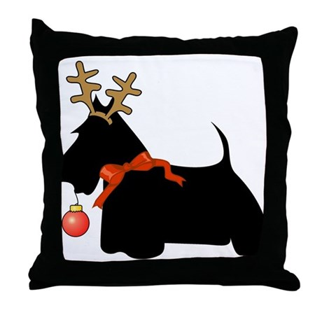 Scottie Dog Reindeer Throw Pillow