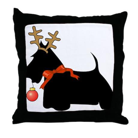 Scottie Dog Reindeer Throw Pillow by scott64