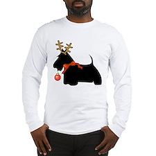 Scottie Dog Reindeer Long Sleeve T-Shirt