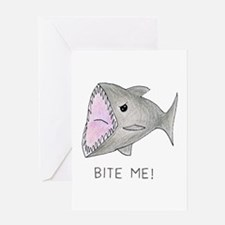 Funny Shark Bite Me Greeting Cards