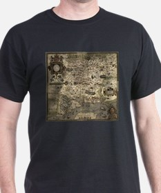 Vintage Map of Hampshire England (1575) T-Shirt