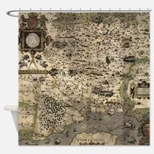 Vintage Map of Hampshire England (1 Shower Curtain