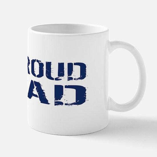 U.S. Navy: Proud Dad (Blue & White) Mug