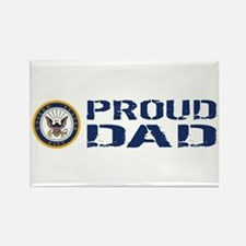 U.S. Navy: Proud Dad (Blue & Whit Rectangle Magnet