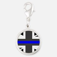 Police: British Flag & The Thi Silver Round Charm