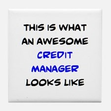 awesome credit manager Tile Coaster