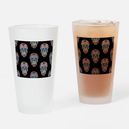 sequin Sugar Skulls Drinking Glass