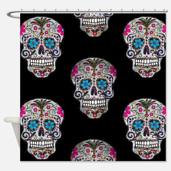sequin Sugar Skulls Shower Curtain