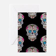 sequin Sugar Skulls Greeting Cards