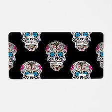 sequin Sugar Skulls Aluminum License Plate
