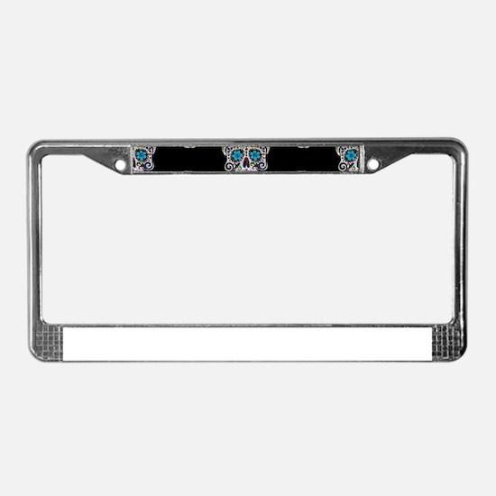 sequin Sugar Skulls License Plate Frame