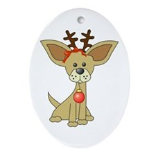 Chihuahua Christmas Oval Ornament