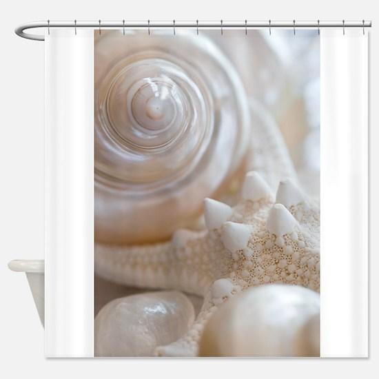 Pearl Spiral Seashell Sea Shells Shower Curtain
