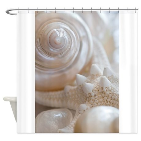 pearl spiral seashell sea shells shower curtain