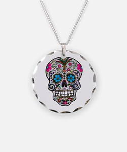 glitter Sugar Skull Necklace Circle Charm