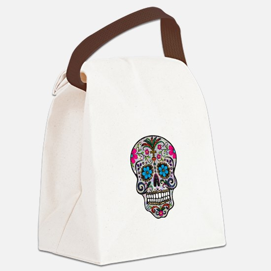 glitter Sugar Skull Canvas Lunch Bag