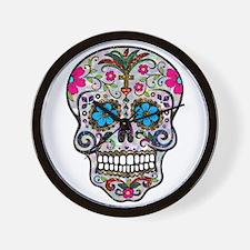 glitter Sugar Skull Wall Clock