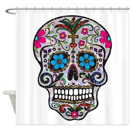glitter sugar skull shower curtain by admin cp13506533. Black Bedroom Furniture Sets. Home Design Ideas