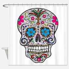 glitter Sugar Skull Shower Curtain