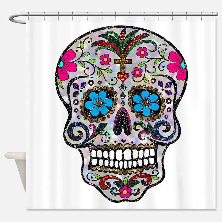 pink sugar skull bathroom accessories decor cafepress. Black Bedroom Furniture Sets. Home Design Ideas
