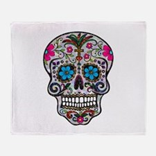 glitter Sugar Skull Throw Blanket