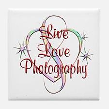 Live Love Photography Tile Coaster