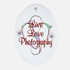 Live Love Photography Oval Ornament