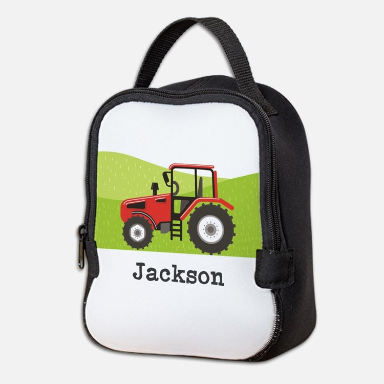 Personalized Red Tractor Neoprene Lunch Bag