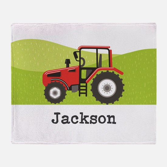 Personalized Red Tractor Throw Blanket