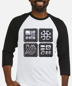 Mayan Glyphs-black and silver blk Baseball Jersey