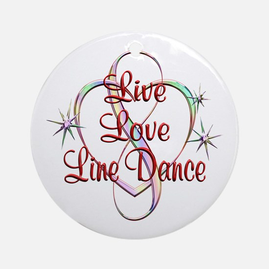 Live Love Line Dance Round Ornament