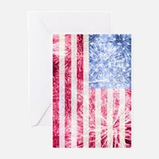 4th of July - American Firework Fla Greeting Cards