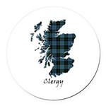 Map - Clergy Round Car Magnet