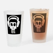 Cute White pit podcast logo Drinking Glass