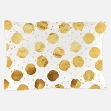 Gold Faux Foil Metallic Dots White Bac Pillow Case