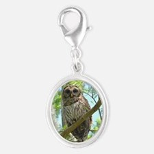 Barred owl in Florida Silver Oval Charm