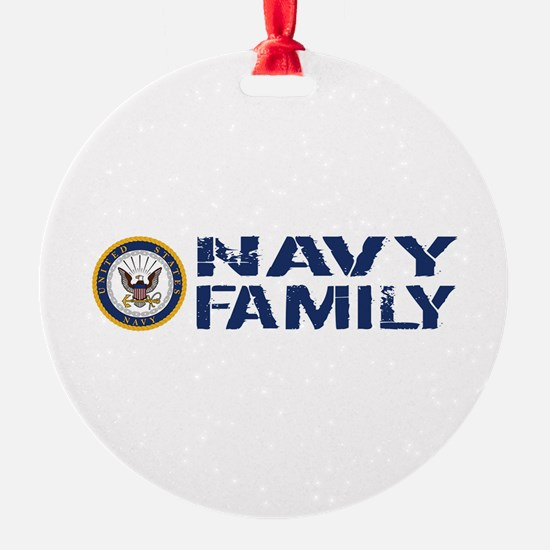U.S. Navy: Navy Family (Blue & Whit Ornament