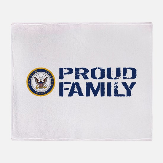 U.S. Navy: Proud Family (Blue & Whit Throw Blanket