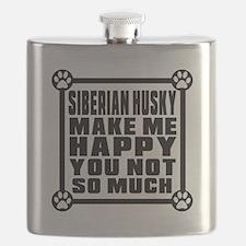 Siberian Husky Dog Make Me Happy Flask