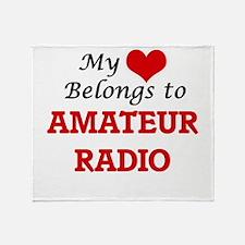 My heart belongs to Amateur Radio Throw Blanket