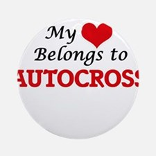 My heart belongs to Autocross Round Ornament