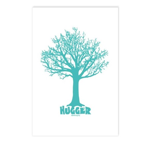 TREE hugger (teal) Postcards (Package of 8)